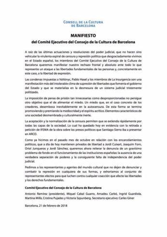 Manifest del Comitè Executiu del Consell de la Cultura de Barcelona